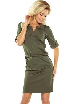 161-2 AGATA - Sukienka z kołnierzykiem - KHAKI  Numoco MyButik.pl - kod rabatowy