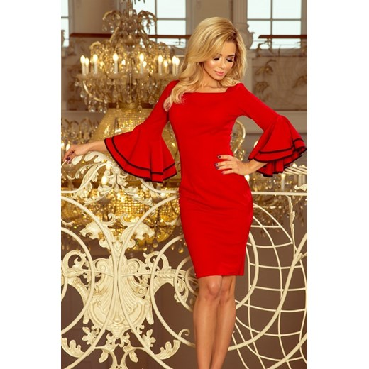 800a21b30f 188-1 CARMEN sukienka z hiszpańskimi rękawkami - CZERWONA Numoco XL  MyButik.pl ...