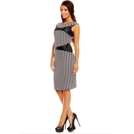 f7805b70c8 ... Sukienka z wstawkami ze skóry km149 Kartes Moda 38 (M) JestesModna.pl