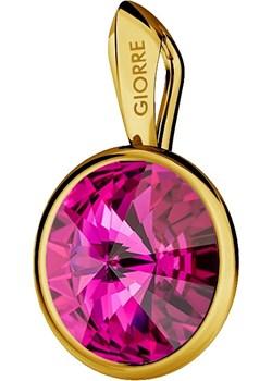 SREBRNY WISIOREK SWAROVSKI RIVOLI 925 : Kolor kryształu SWAROVSKI - Fuchsia, Kolor pokrycia srebra - Pokrycie Żółtym 24K Złotem  Giorre  - kod rabatowy