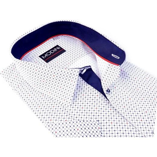 b75d7081051ac6 Biała koszula z krótkim rękawem w drobną kratkę i kropki MK3 Modini Moda  Męska 176-