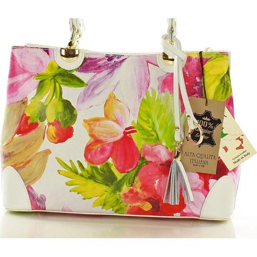 2f658bfb9135b Torebka italian bag kuferek skóra MAZZINI - Alice biała kwiaty Mazzini  Verostilo wyprzedaż ...