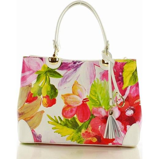 40c794112863e ... Torebka italian bag kuferek skóra MAZZINI - Alice biała kwiaty Mazzini  promocja Verostilo ...