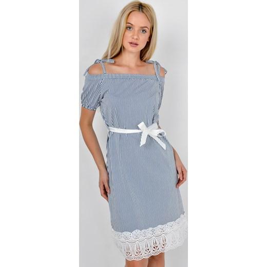 f44eba0b305d1b Sukienka w paski na ramiączkach, biały pasek Zoio zoio.pl w Domodi