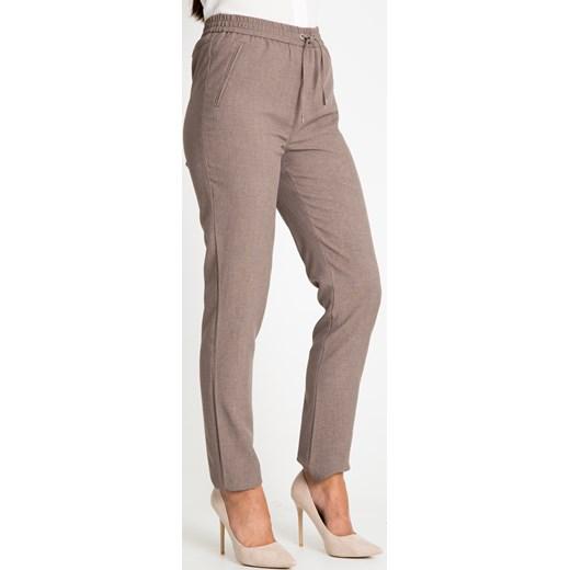 9d45685e Proste beżowe spodnie na gumce Quiosque quiosque.pl