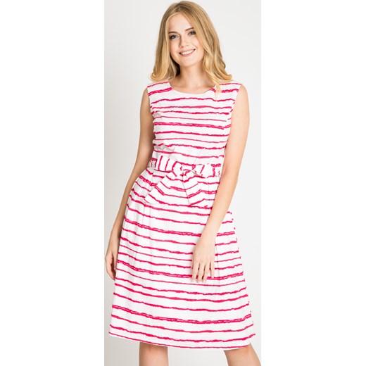 8ced3362c6 Biała rozkloszowana sukienka w czerwone paski Quiosque 38 wyprzedaż quiosque.pl  ...