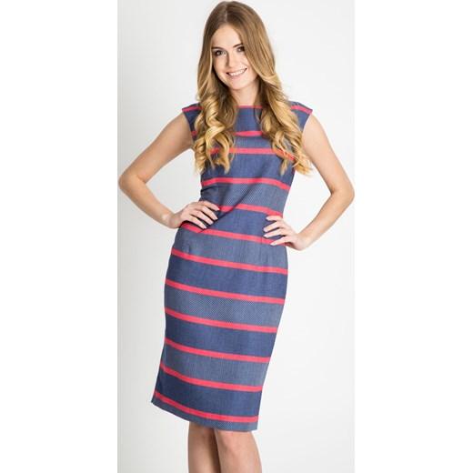 083564ca26 Niebieska sukienka w koralowe pasy Quiosque 40 wyprzedaż quiosque.pl ...