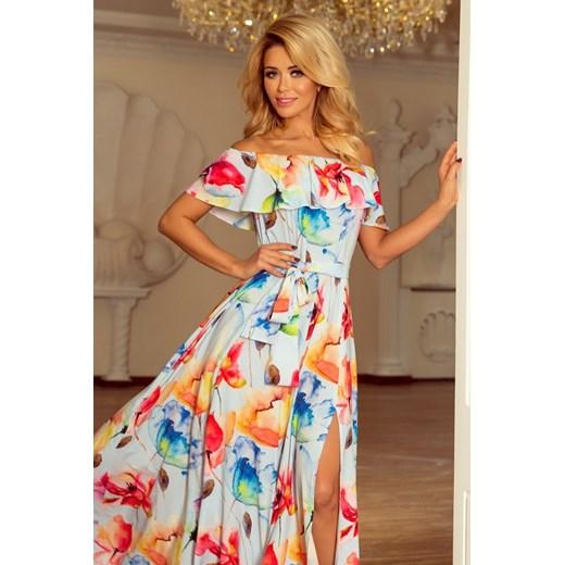 826ede2d618a46 194-1 Długa suknia z hiszpańskim dekoltem - kolorowe malowane kwiaty Numoco  S MyButik.