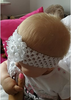 Opaska niemowlęca ażurowa do chrztu, biała  Piccolino piccolino-sklep.pl - kod rabatowy