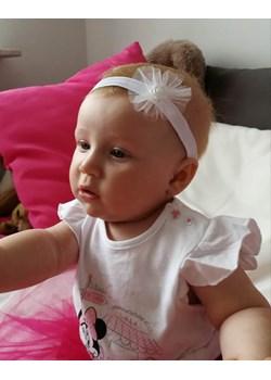 Opaska niemowlęca biała z tiulowym kwiatkiem Piccolino  piccolino-sklep.pl - kod rabatowy