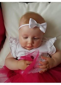 Opaska niemowlęca kokardka ze srebrną tasiemką Piccolino  piccolino-sklep.pl - kod rabatowy