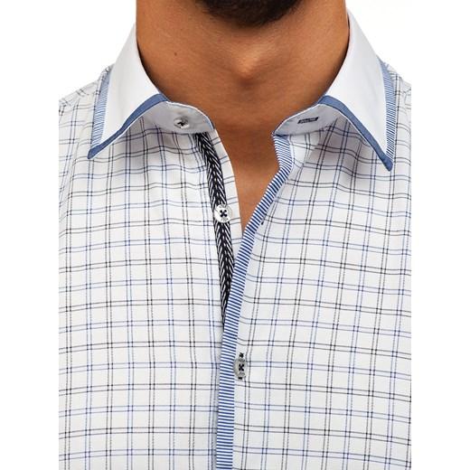 5ed583ce02bb40 ... Koszula męska w kratę z długim rękawem biało-czarna Bolf 8812 Denley L  ...