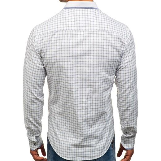 951c04702c2755 ... Denley L; Koszula męska w kratę z długim rękawem biało-czarna Bolf 8812  Denley XL