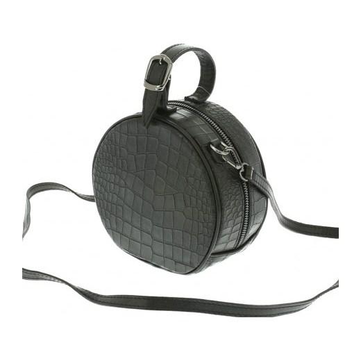 f1c18f956124c Mała okrągła torebka skórzana czarna Vera Pelle stylowagalanteria.com