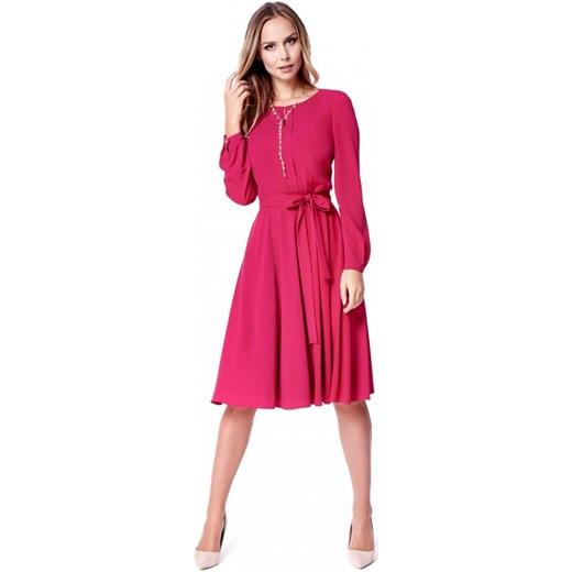 731c248121 Potis   Verso sukienka midi różowa elegancka z okrągłym dekoltem w ...