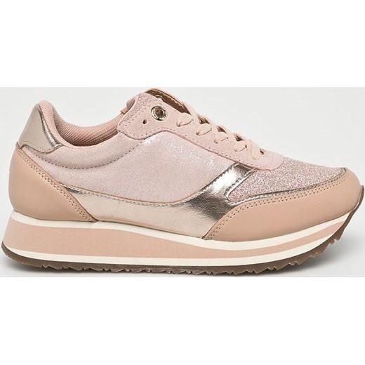 fe0bb64ee6e60 Sneakersy damskie Tommy Hilfiger sznurowane różowe młodzieżowe ze skóry bez  wzorów na wiosnę ...