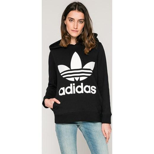 37858711e Bluza damska czarna Adidas Originals na jesień bawełniana krótka w ...