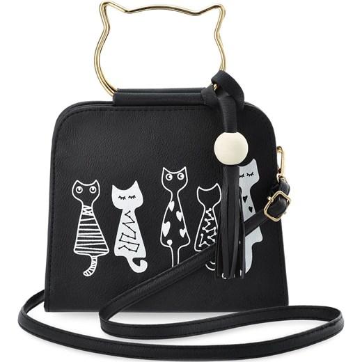 98cb4ccf1d619 Młodzieżowa listonoszka torebka damska print kotki - czarny bialy  world-style.pl ...