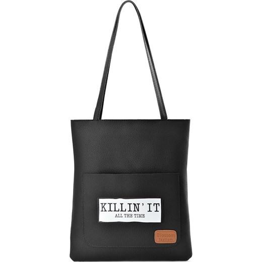 b205ae059af4 Torebka damska zakupowa shopperbag z kieszonką print - czarny world-style.pl