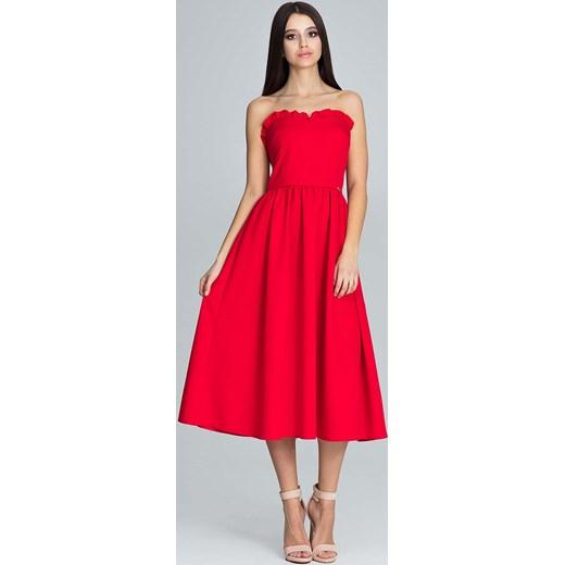 1fc5292fcc0da8 Czerwona Wieczorowa Midi Sukienka Gorsetowa z Falbankami Figl M MOLLY.PL