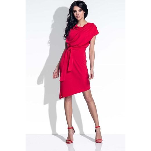 e0f01f0683 Czerwona Sukienka Elegancka Asymetryczna z Rozcięciem na Plecach Molly.pl  czerwony L