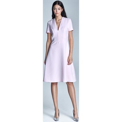 e4a35be101 Elegancka Różowa Sukienka Midi z Głębokim Dekoltem w Szpic fioletowy  Molly.pl