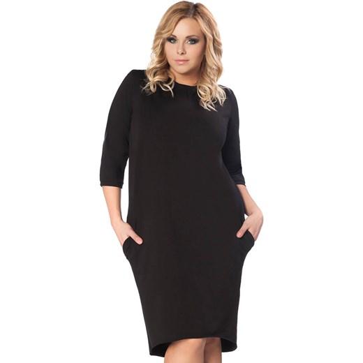 17a00b7d39 Czarna Dzianinowa Sukienka z Wiązaniem na Karku PLUS SIZE Molly.pl czarny