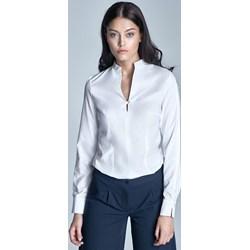 dfe18152259669 Biała Koszulowa Bluzka ze Stojką z Długim Rękawem - zdjęcie produktu