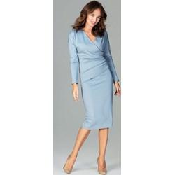 552990ead0 Niebieskie sukienki wizytowe kopertowe midi