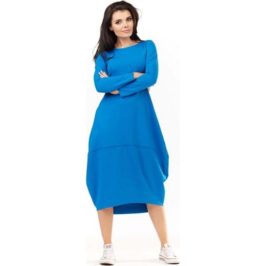 9a296177fc Niebieska Dzianinowa Midi Sukienka Bombka z Długim Rękawem niebieski  Molly.pl