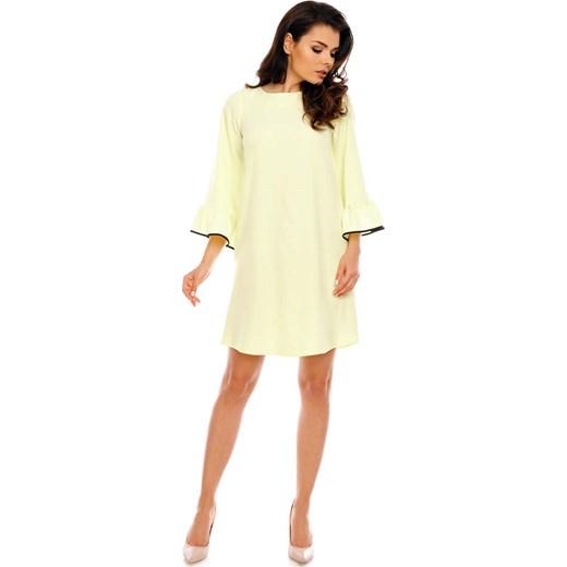 d106c6550a Żółta Szykowna Trapezowa Sukienka z Falbankami przy Rękawach Nommo M MOLLY.