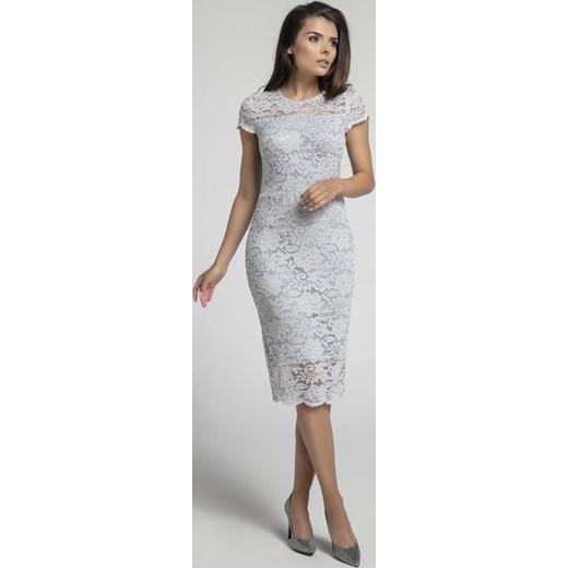 ebb992382729d6 Szara Koronkowa Ołówkowa Sukienka Midi z Dekoltem V na Plecach Nommo XXL  MOLLY.