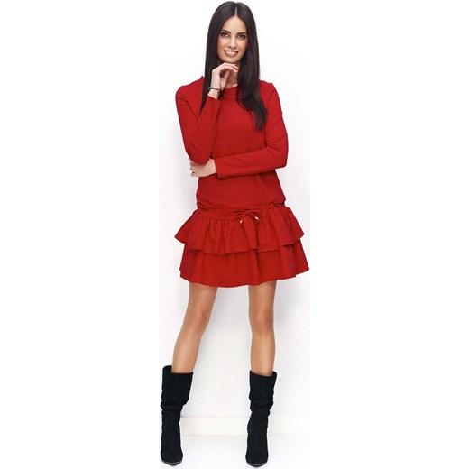 f9fbf79e20 Czerwona Sukienka Dresowa z Falbanką i Wiązanymi Troczkami czerwony  Molly.pl L