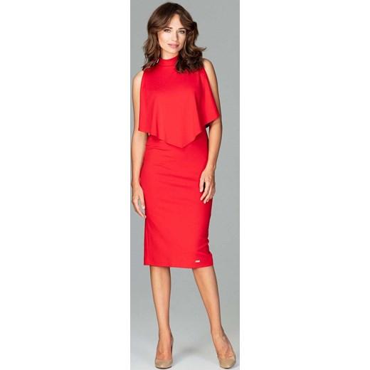 4aa0b775f9 Czerwona Wizytowa Dopasowana Sukienka Midi z Peleryną Katrus XL MOLLY.PL