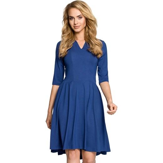 90f2e09b1710 Niebieska Sukienka Rozkloszowana z Rękawem 1 2 niebieski Molly.pl w ...