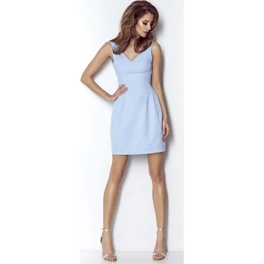 cbf44fa5 Niebieska Wyjściowa Lekko Rozkloszowana Sukienka z Dekoltem na Plecach Wow  Point MOLLY.PL