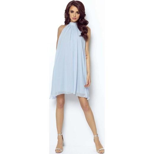fa265594c0 Niebieska Zwiewna Koktajlowa Sukienka z Dekoltem Halter na Stójce Ivon S  MOLLY.