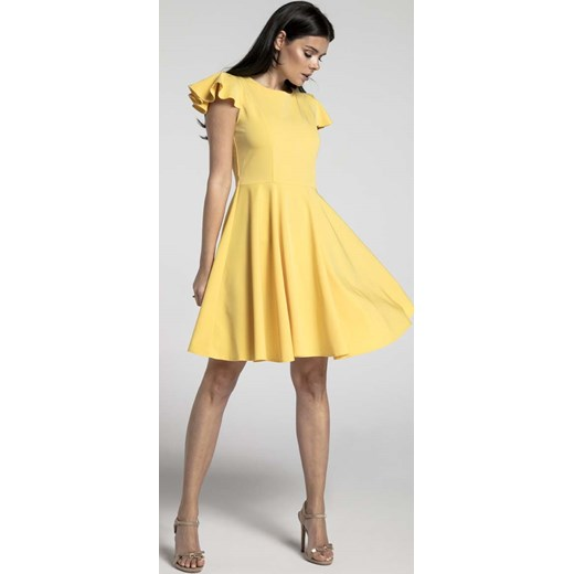 516f3caa26c427 Żółta Rozkloszowana Sukienka z Rękawkiem Typu Motylek Nommo MOLLY.PL ...