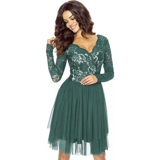 48592126565c Zielona Sukienka Koronkowa z Tiulową Spódnicą zielony Molly.pl w Domodi