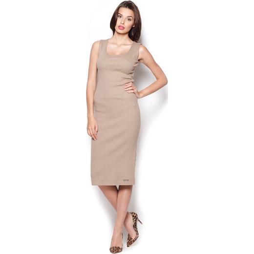 c8c2fcdb75 Beżowa Bawełniana Sukienka Midi bez Rękawów molly-pl bezowy w Domodi