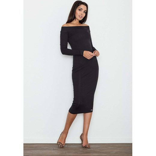 30bce5be29 Czarna Ołówkowa Sukienka za Kolano z Szerokim Dekoltem czarny Molly.pl M