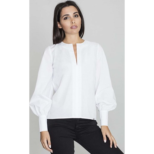 Groovy Biała Bluzka Koszulowa z Rozcięciem przy Dekolcie bialy Molly.pl w XL31