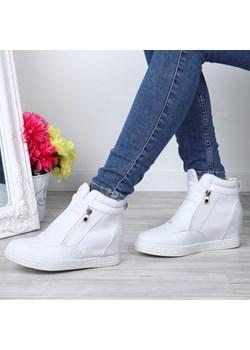 Białe sneakersy na koturnie  Royalfashion.pl  - kod rabatowy