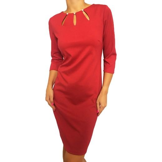 c093ddac0e 2079-37-D Czerwona Sukienka z Perełkami Modnakiecka.pl 46 wyprzedaż
