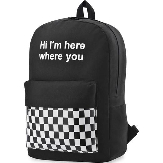 aa50692549f1e Młodzieżowy plecak szkolny sportowy print szachownica - czarny  world-style.pl