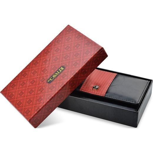 2d48e42ce5dda Elegancki pojemny portfel damski cavaldi kolorowa wstawka - czarno-czerwony  Cavaldi world-style.