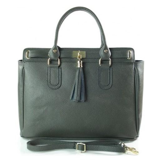 703070220d648 VERA PELLE Włoska duża torebka z frędzlami KUFEREK A4 szary skóra naturalna  BERK4G torebki włoskie WYPRZEDAŻ ...