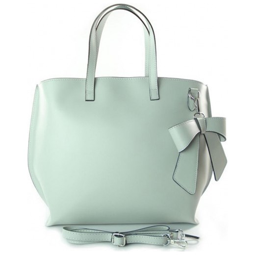 45d9525e8c5fe VERA PELLE Włoska torebka damska SHOPPER BAG A4 z kokardą szara skóra  naturalna SB689G2 torebki włoskie ...