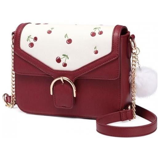 637fbd8e1b52f JUST STAR Mała czerwona torebka listonoszka z wisienkami i pomponem  czerwona skóra ekologiczna 171938-02 ...