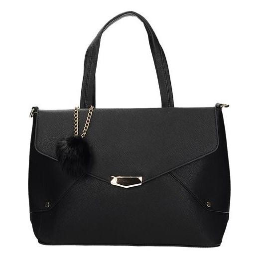 1dc566d043edf BE EXCLUSIVE Klasyczna duża torebka damska kuferek z pomponem w kolorze  czarnym skóra ekologiczna 281059 Be ...